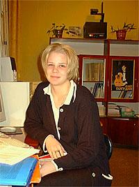 Студентка (Riikka Paulamaki) из г. Оулу на стажировке в Институте экономики. Петрозаводск, осень 2000 года