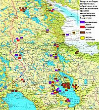 Карта отбора почвенных образцов для определения фауны почвенных нематод на территории Республики Карелия