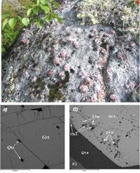 Гранат проявления Западная Плотина: а) центральная зона зерна граната; б) гранат проявления Высота-181. Изображение выполнено на сканирующем электронном микроскопе VEGA II LMU