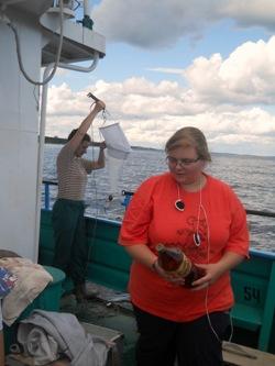 Работа на каждой станции начинается с отбора проб фитопланктона, зоопланктона, а также проб на пигментный состав водорослей.