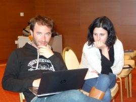 Группа, изучающая трофические уровни Виктор Фроссард и Эмили Лутэ.